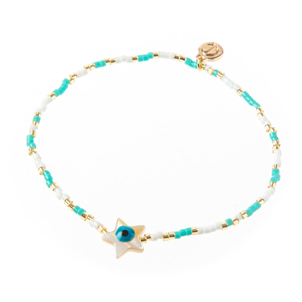 Seed Bead Evil Eye Star Stretch Bracelet Turquoise