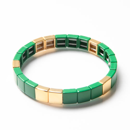 Tile Bead Bracelet - Green/Gold