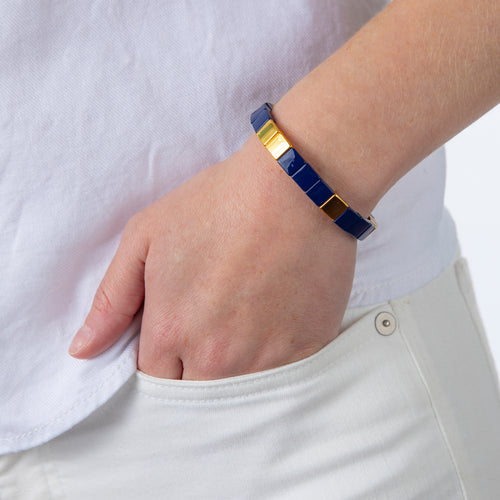 Tile Bead Bracelet - Navy/Gold