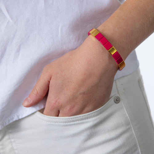 Tile Bead Bracelet - Fuschia/Gold