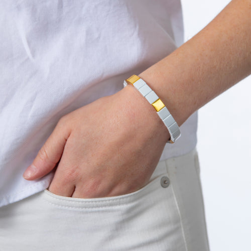 Tile Bead Bracelet - White/Gold