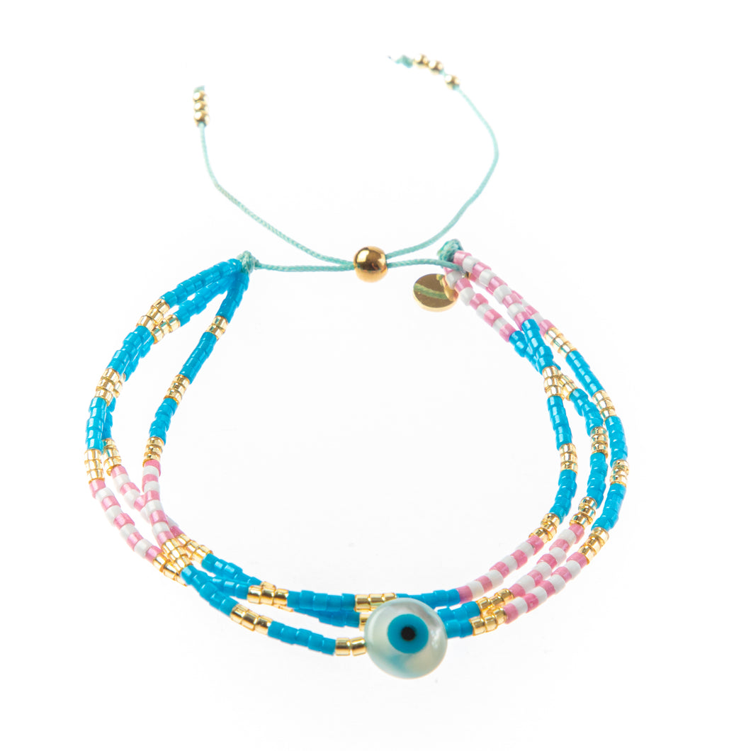 Triple Strand Evil Eye- Pink/Blue