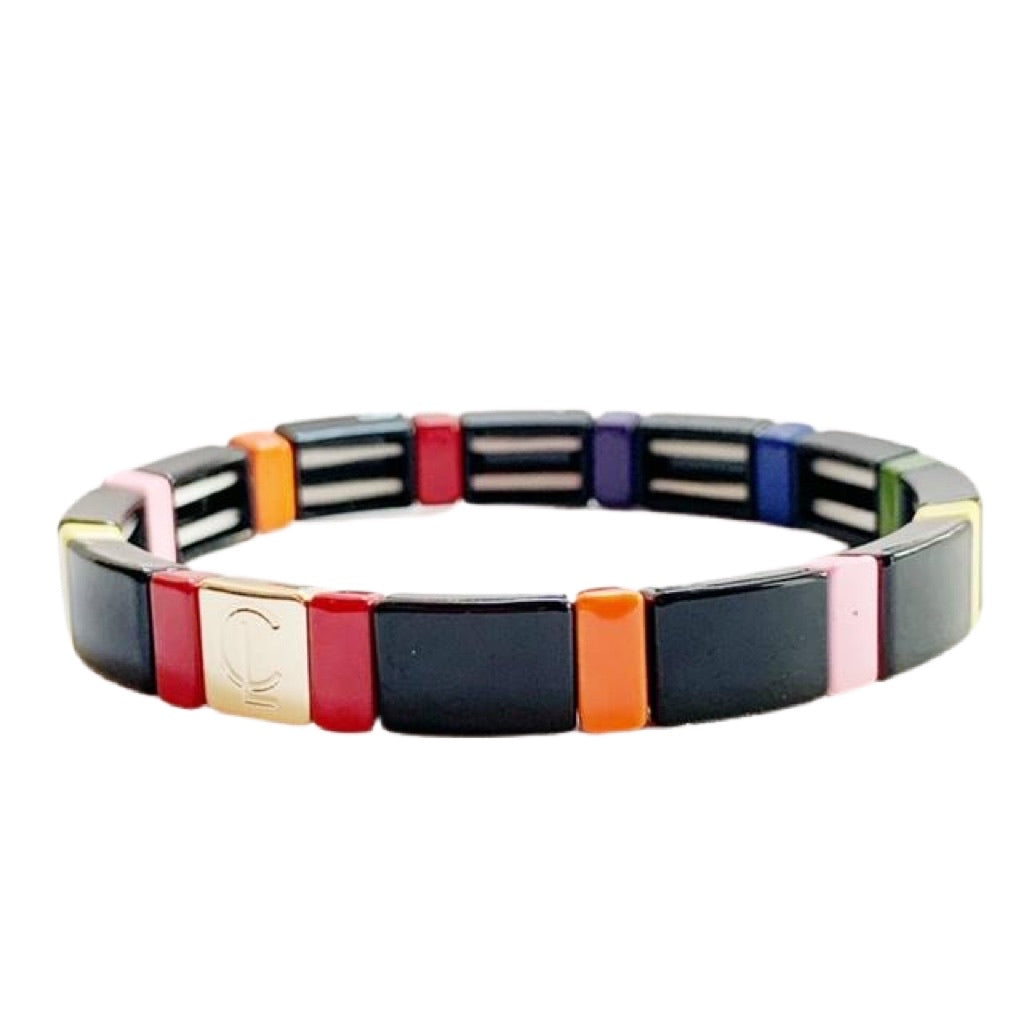 Tile Bracelet- Black Rainbow