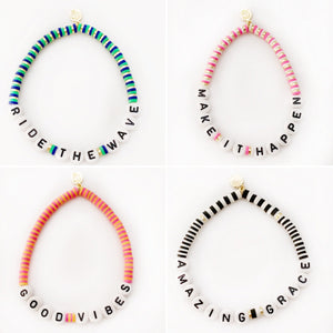 Seaside Skinny Word Bracelets