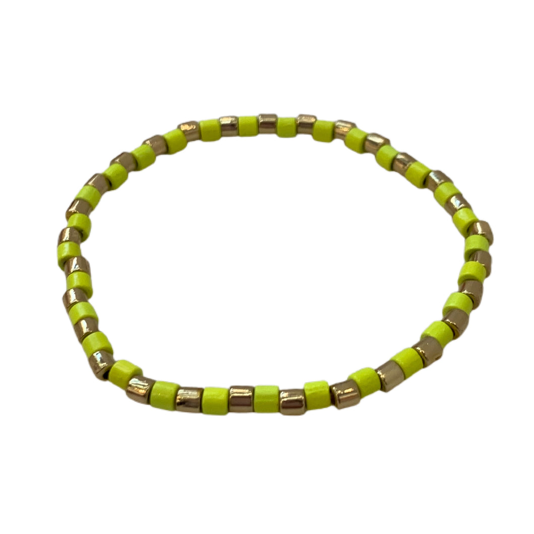 Seashore Tube Bracelet- Neon Yellow/Gold