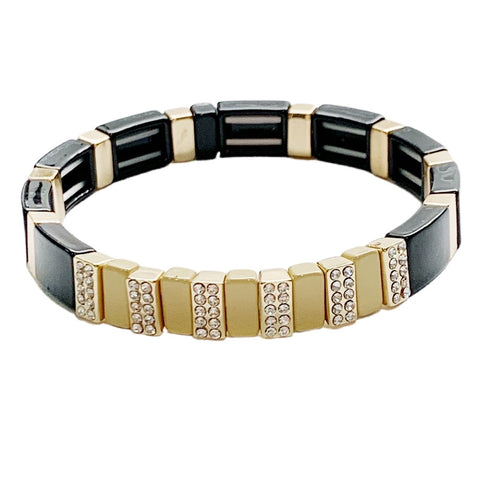 Crystal Tile Bracelet- Black