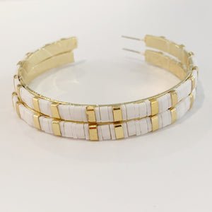 Supernova Hoop Earrings- White/gold