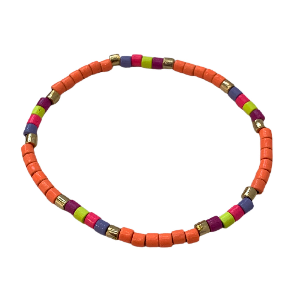 Seashore Tube Bracelet- Neon Orange Multi