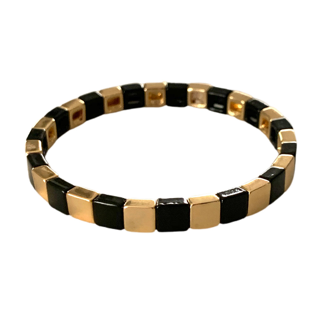 Tiny Tile Bracelet- Gold/Black