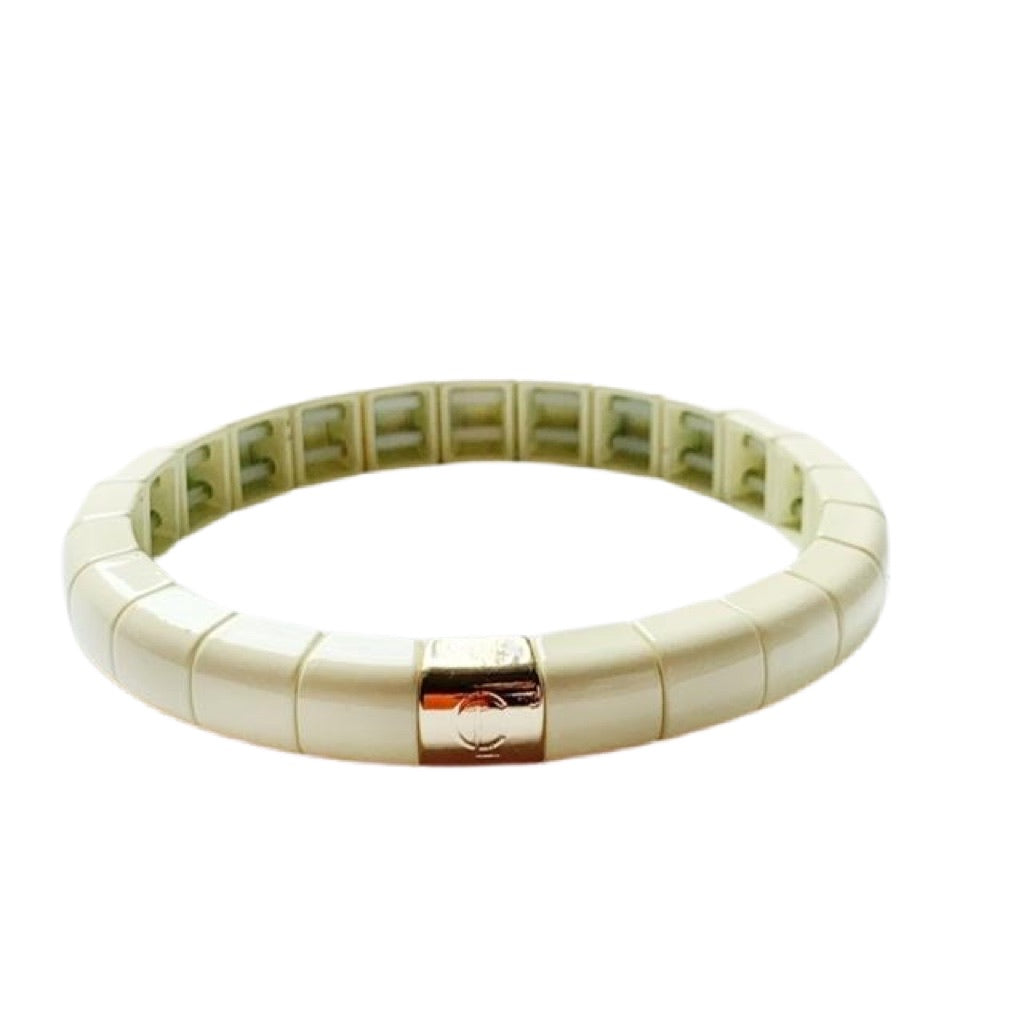 Tile Tube Bracelet- Bone