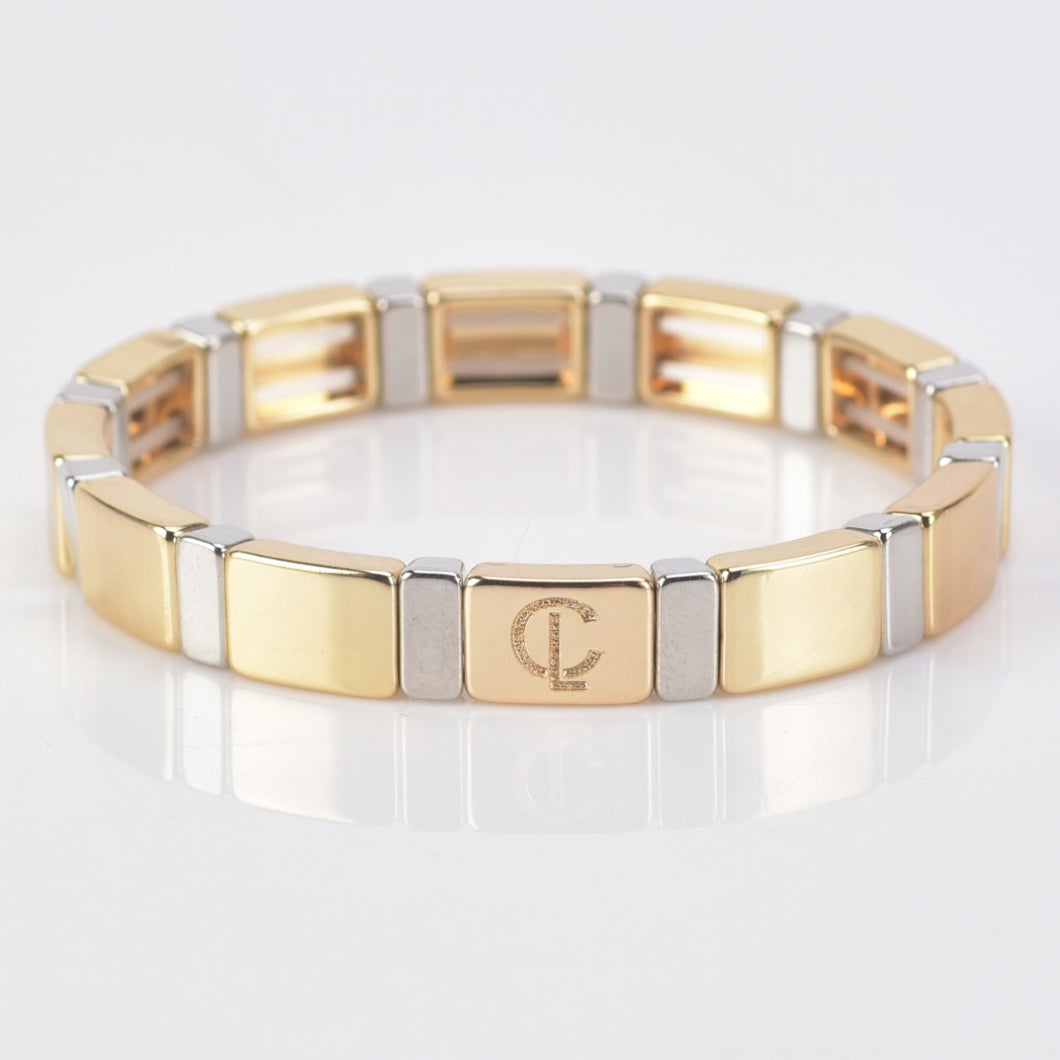 Tile Bracelet - Gold/Silver Rectangular