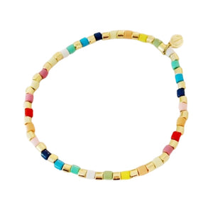 Seashore Tube Bracelet- Mini Gold Rainbow