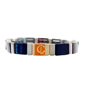 Tile Bracelet- Navy/Silver Rectangle