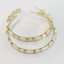 Load image into Gallery viewer, Supernova Hoop Earrings- White/gold