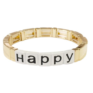 Word Tile Bracelet- Happy