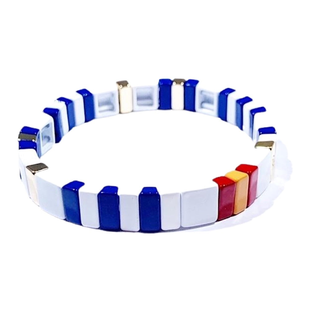 Tile Bracelet - White/Navy/Red/Orange