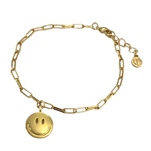 Gold Chain Link Smile Bracelet