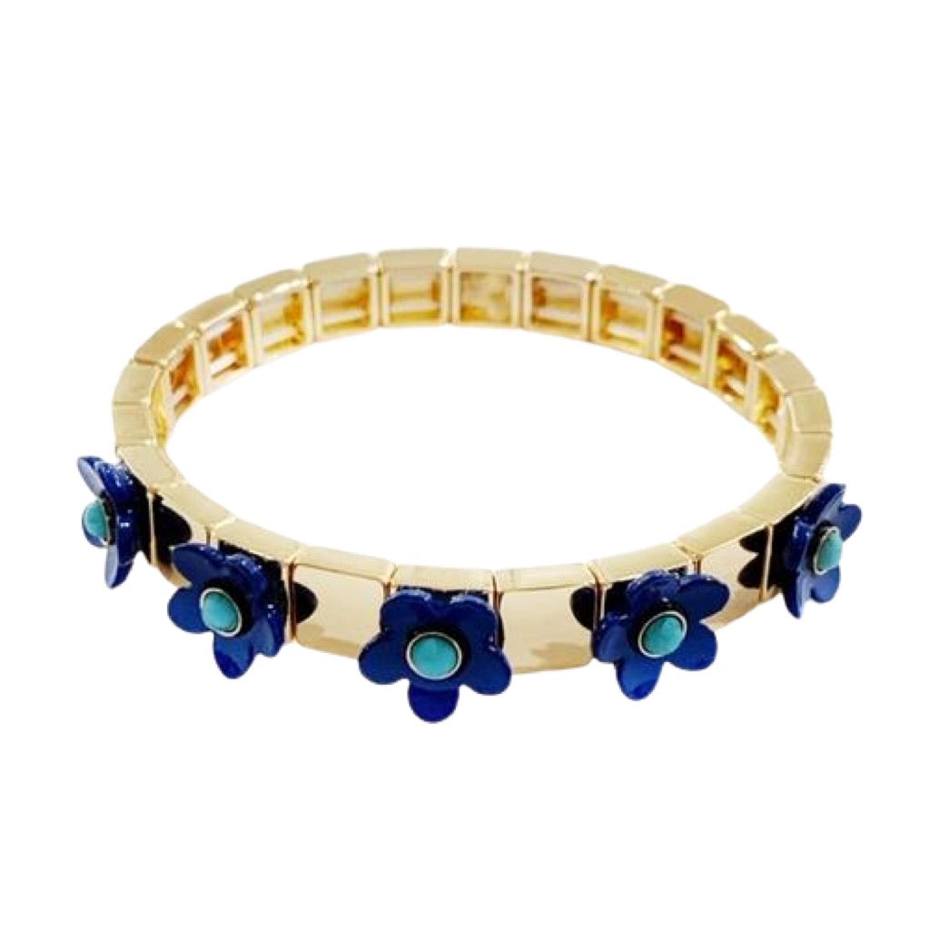Flower Tile Bracelet - Blue