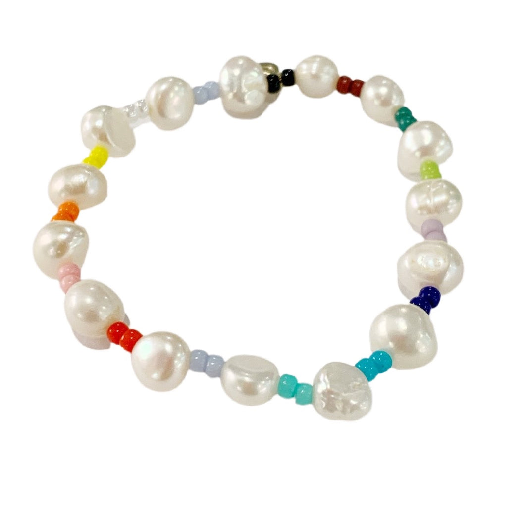 Fresh Water Pearl - Multi Rainbow Bracelet