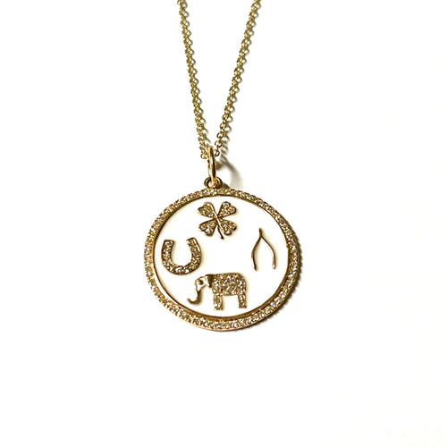 Lucky Diamond Enamel Necklace