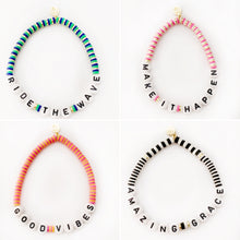 "Load image into Gallery viewer, Seaside ""Good Vibes"" disc bracelet"