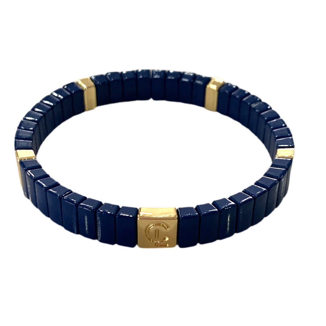 Tile Mini Bar Bracelet- Navy