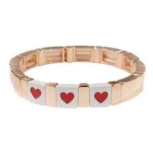 Word Tile Bracelet- Rose Gold Triple Heart