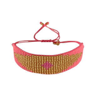 Evil eye friendship bracelet - pink/gold