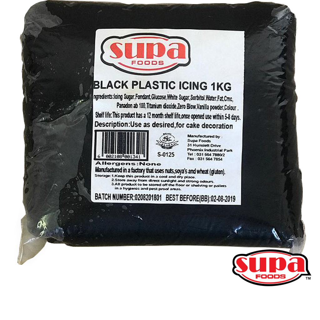 A 1kg bag of black fondant / plastic icing