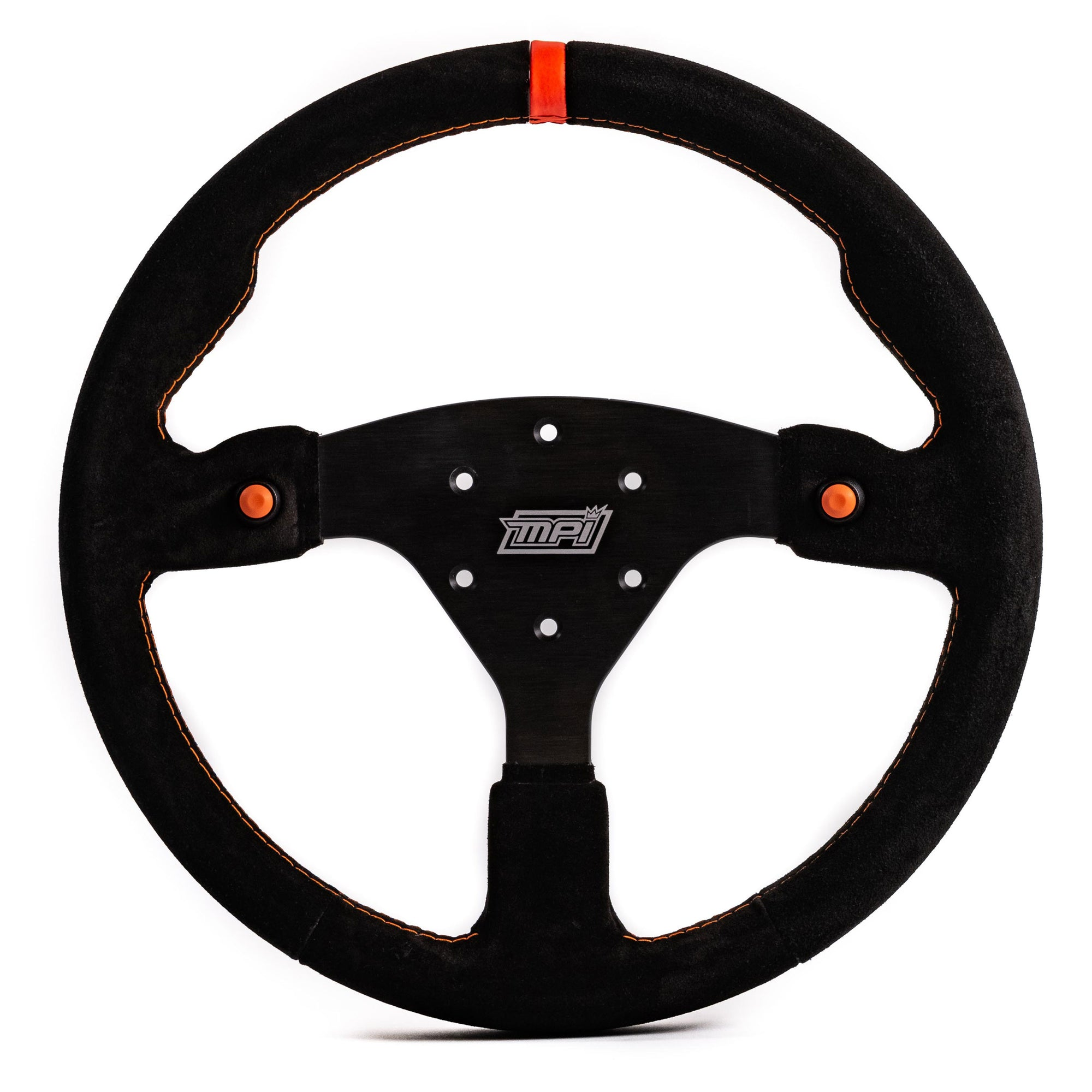 MPI Off Road Concept Specific Suede Steering Wheel w/Orange Push Buttons (MPI-F-14-2B-ORNG)-MPI-Motion Raceworks