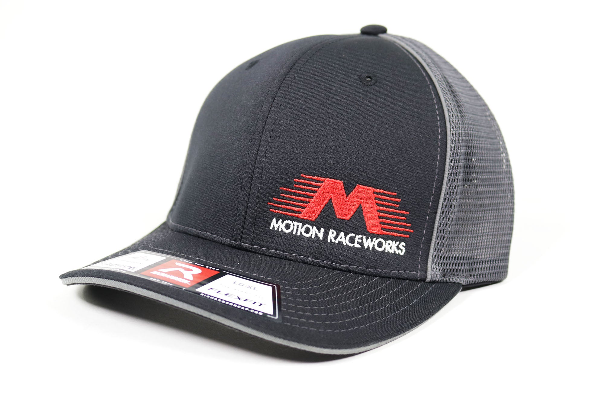 Black and Gray Flex Fit Mesh Trucker Hat S/M & L/XL-Motion Raceworks-Motion Raceworks