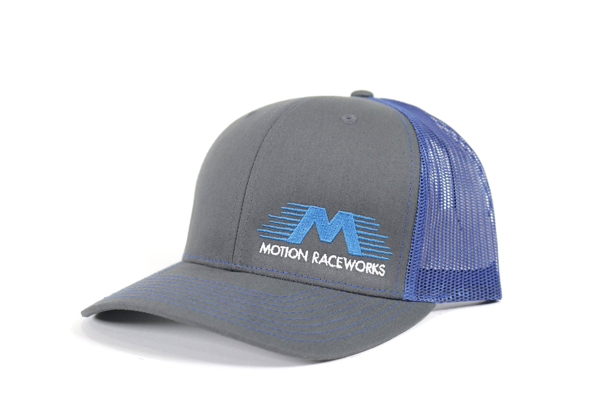 Blue/Grey Motion Raceworks Trucker Snapback Hat (Mesh Back)-Motion Raceworks-Motion Raceworks