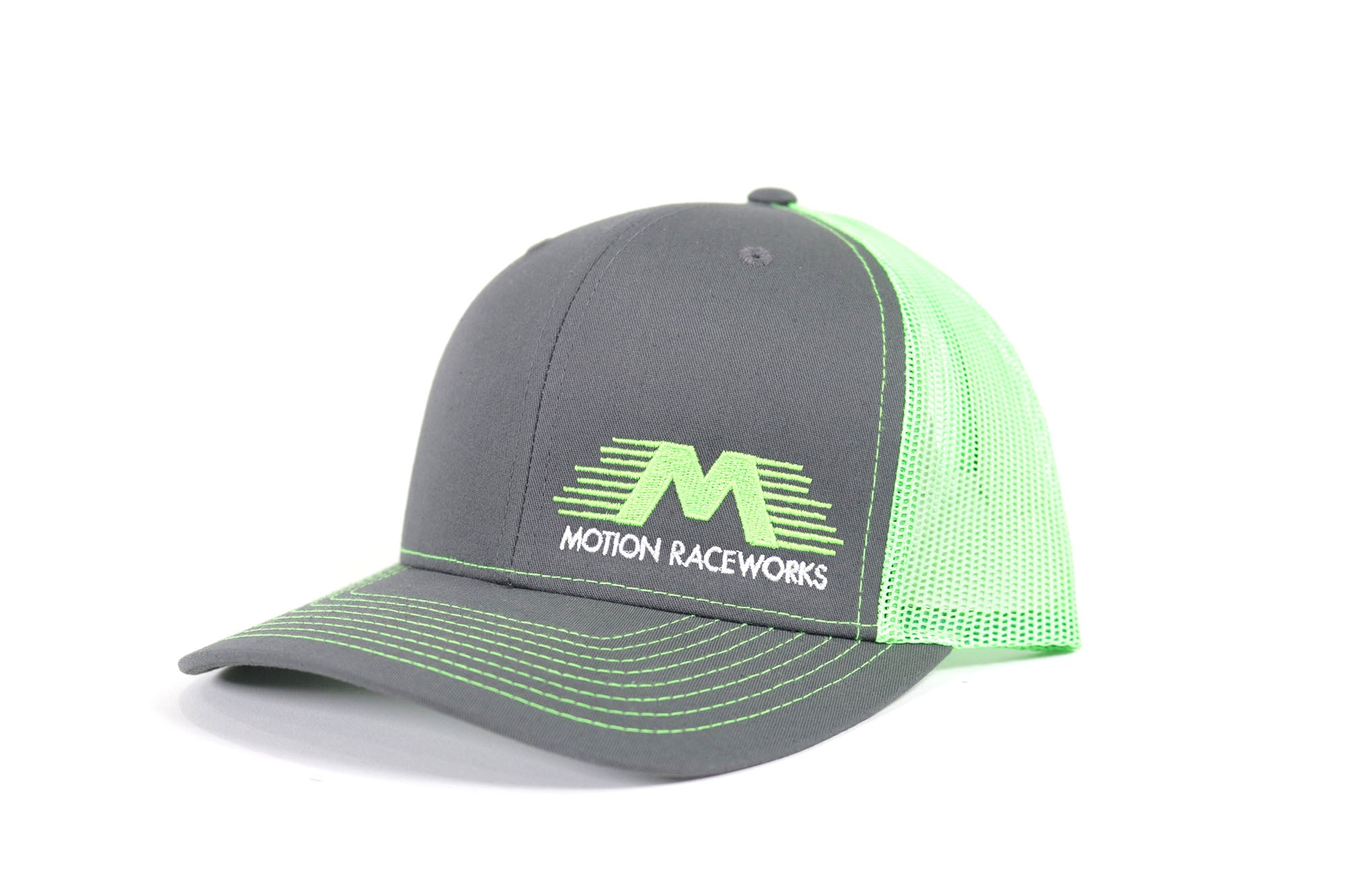 Neon Green/Grey Motion Raceworks Trucker Snapback Hat (Mesh Back)-Motion Raceworks-Motion Raceworks