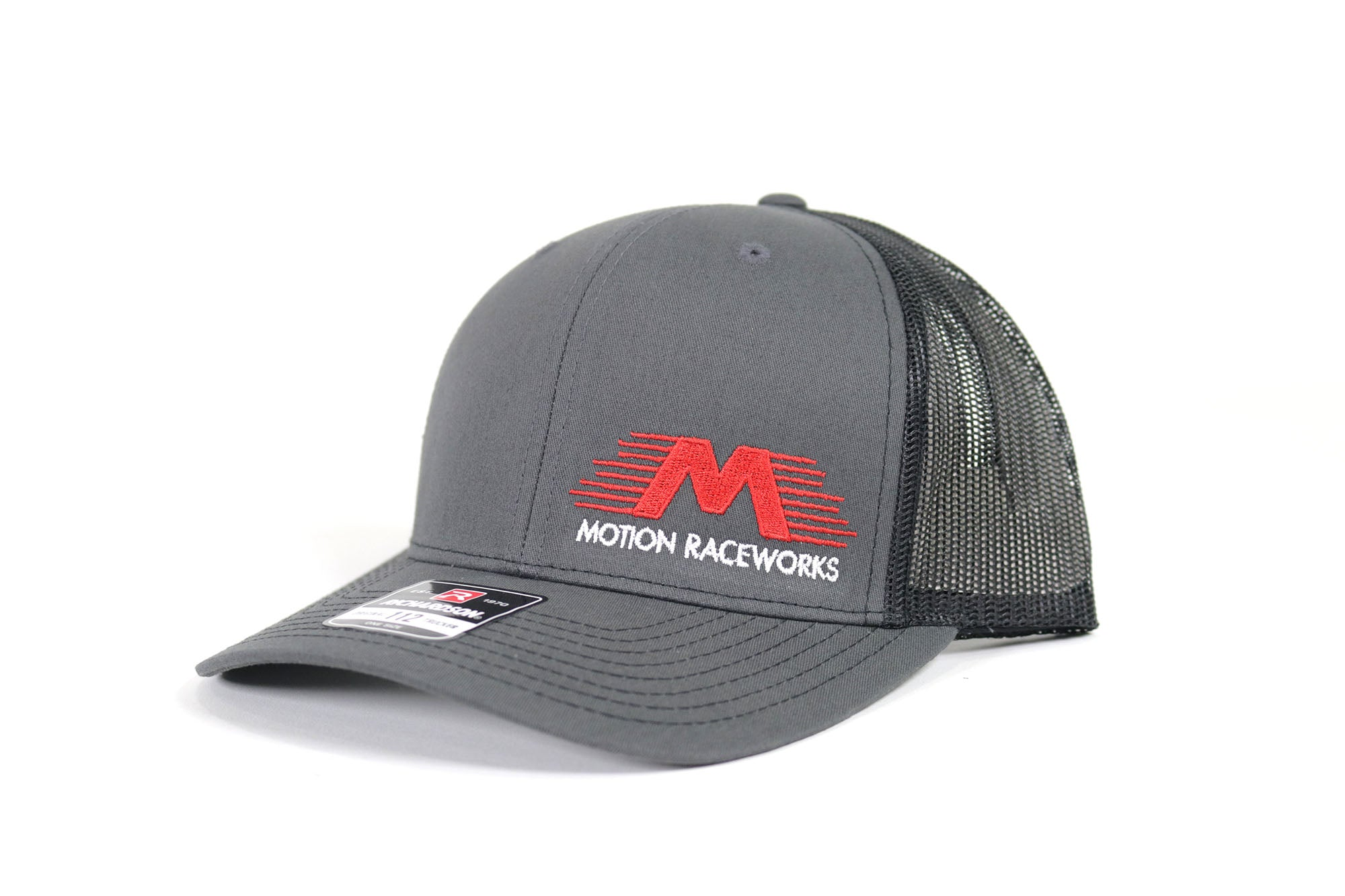 Black/Grey Motion Raceworks Trucker Snapback Hat (Mesh Back)-Motion Raceworks-Motion Raceworks