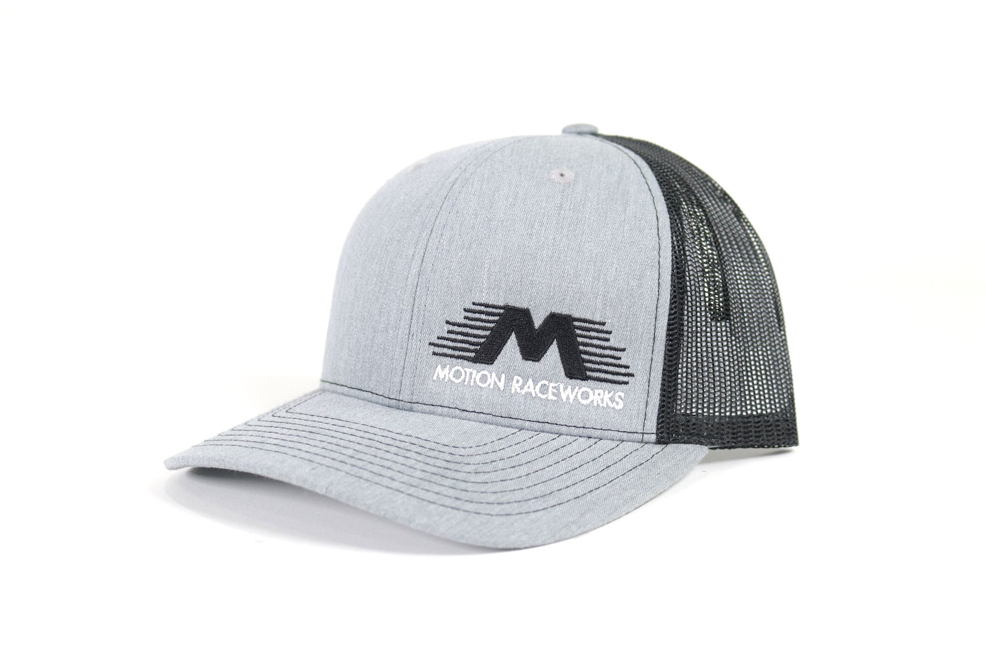 Black/Heather Grey Motion Raceworks Trucker Snapback Hat (Mesh Back)-Motion Raceworks-Motion Raceworks