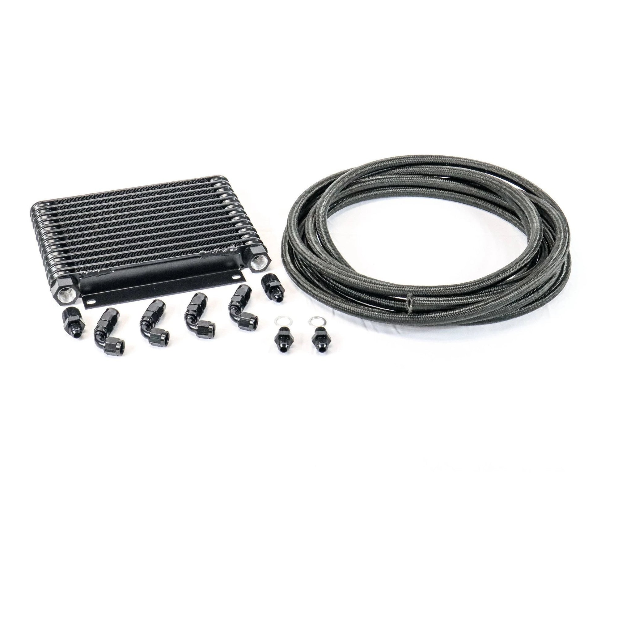 GM TH350, TH400, 700R4, 4L60E Derale Trans Cooler Kit w/Fragola Lines/Fittings-Kit-Motion Raceworks