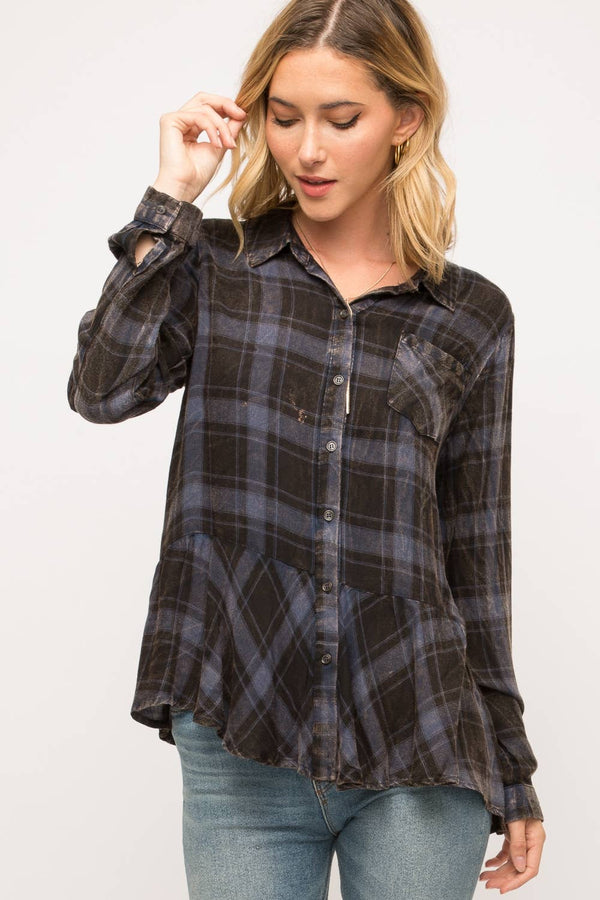 Washed Plaid Shirt with Ruffle Bottom