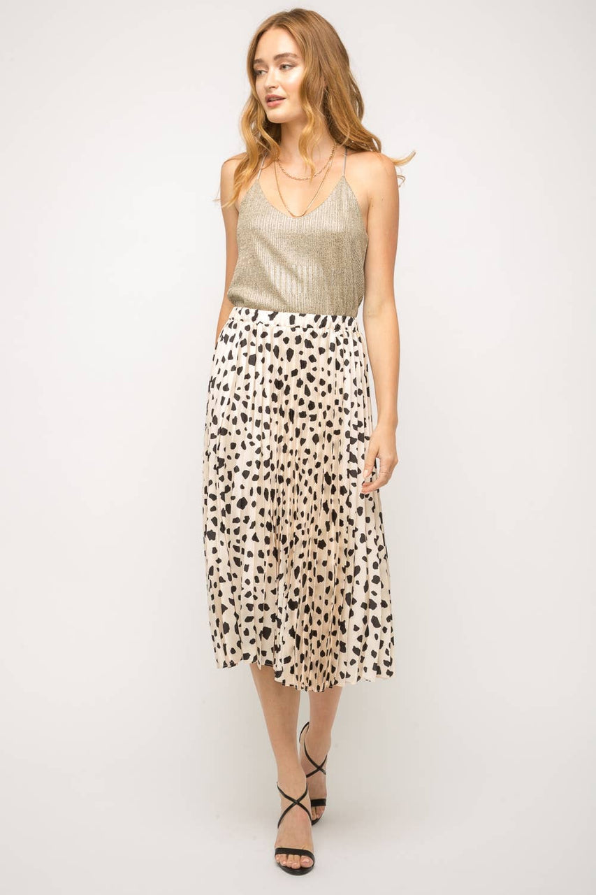 Pleated Flowy Dalmatian Print Skirt