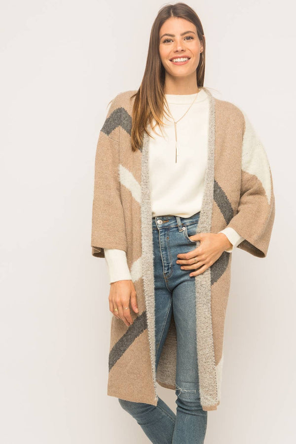 Diagonal Color Block Sweater Cardigan