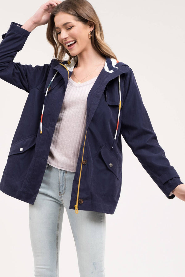 Lightweight Navy Color Lined Jacket