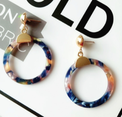 Acrylic Drop Circle Earrings