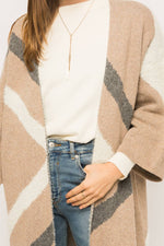 Load image into Gallery viewer, Diagonal Color Block Sweater Cardigan