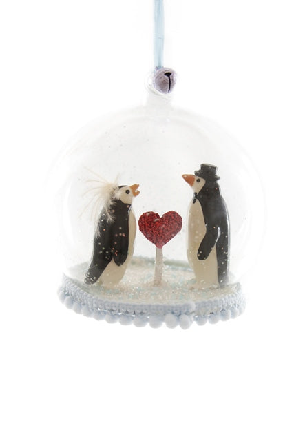 Penguin Heart Globe Ornament