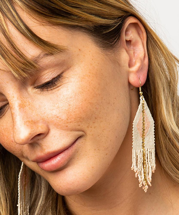 Luxe Diamond Stripe Fringe Earrings