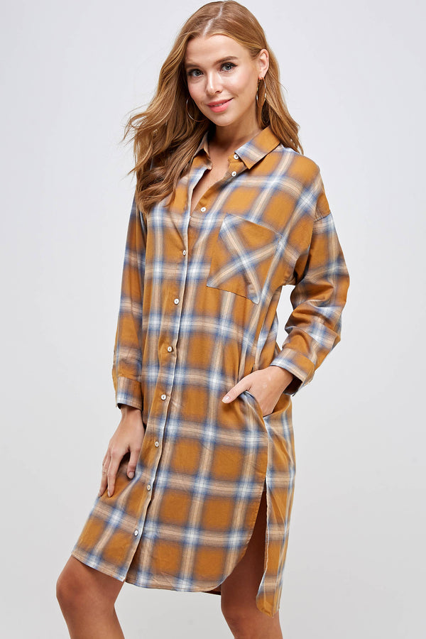 Mustard Plaid Button Dress