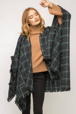 Load image into Gallery viewer, Fray at Hem Checker Poncho