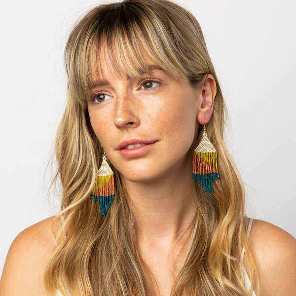 Ombre Fringe Beaded Earrings
