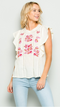 Floral Embroidered Ruffle Top