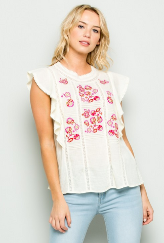 Floral Embroidered Rufle Top