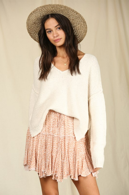 Woven Coral Skirt